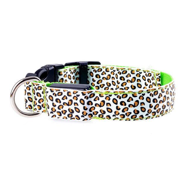Nirvana Life Pets Green / S Leopard LED Safety Dog Collar