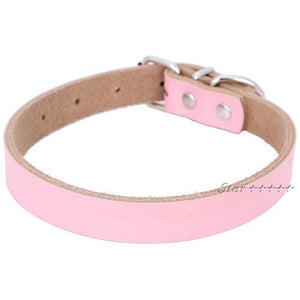 Nirvana Life Pets Pink / M Genuine Leather Dog Collar