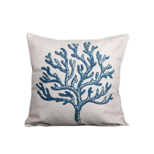 Nirvana Life pillows Blue Coral Under the Sea Handmade Linen Pillow Covers
