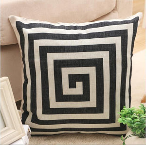 Nirvana Life pillows Greek Spiral White and Black Decorative Pillows