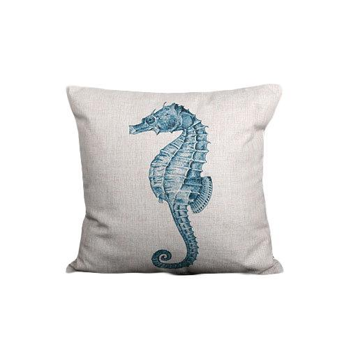 Nirvana Life pillows White Seahorse Under the Sea Handmade Linen Pillow Covers