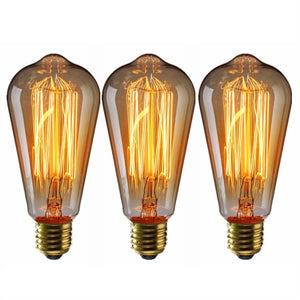 3PCS Edison Tungsten Filament Light Bulb