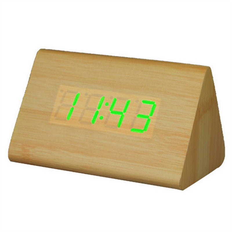 Wooden Triangle LED Alarm Clock