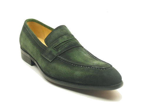 Men Leather Penny Loafer-Olive