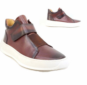 Mid Top Leather Sneaker Whiskey