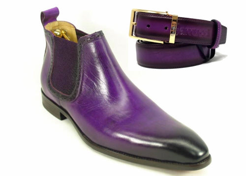 Calfskin Buckle Ankle Boot Purple