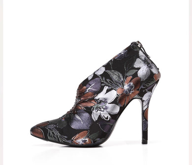 Pointy Toe- Olive Floral