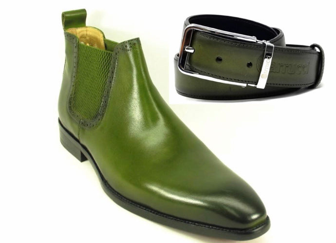 Calfskin Buckle Ankle Boot Olive