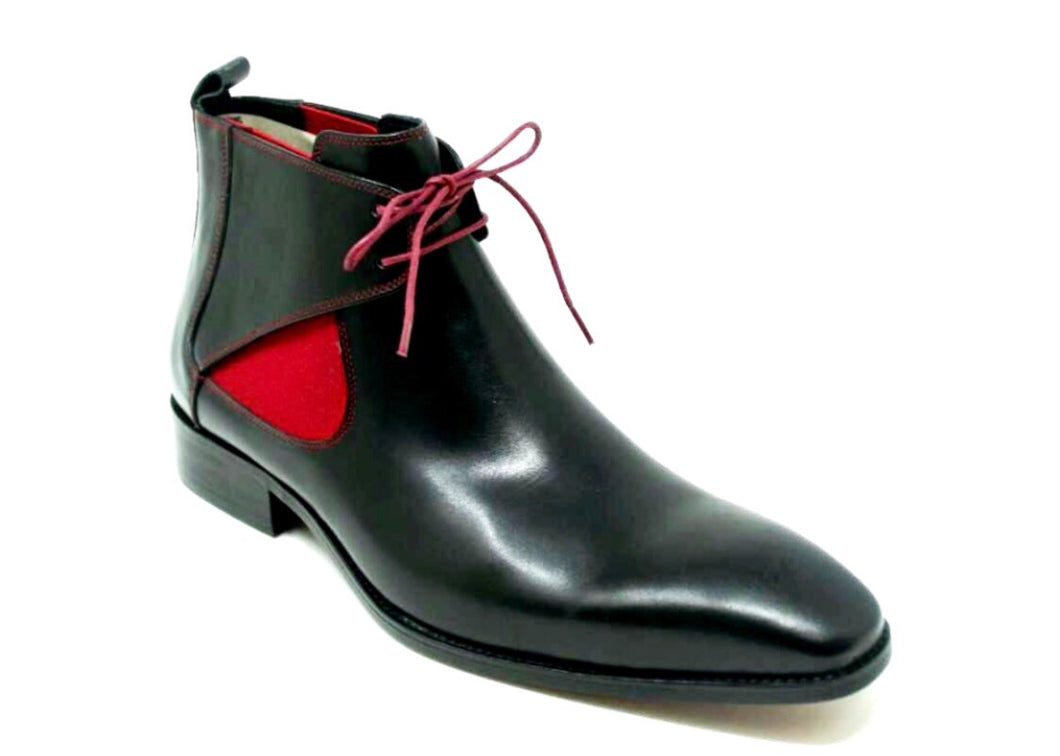 Calfskin Lace-Up Boot (blk/red)