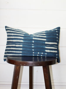 Indigo Striped Mudcloth Throw Pillow