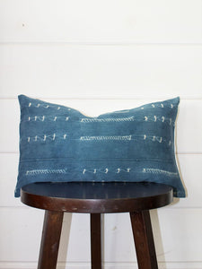 Indigo Lumbar Mud Cloth Throw Pillow