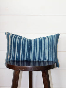Striped Indigo Lumbar Mud Cloth Throw Pillow