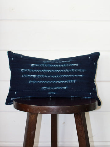 Navy Lumbar Mud Cloth Throw Pillow