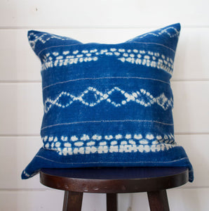 Indigo Tie-Dye Mud Cloth Throw Pillow