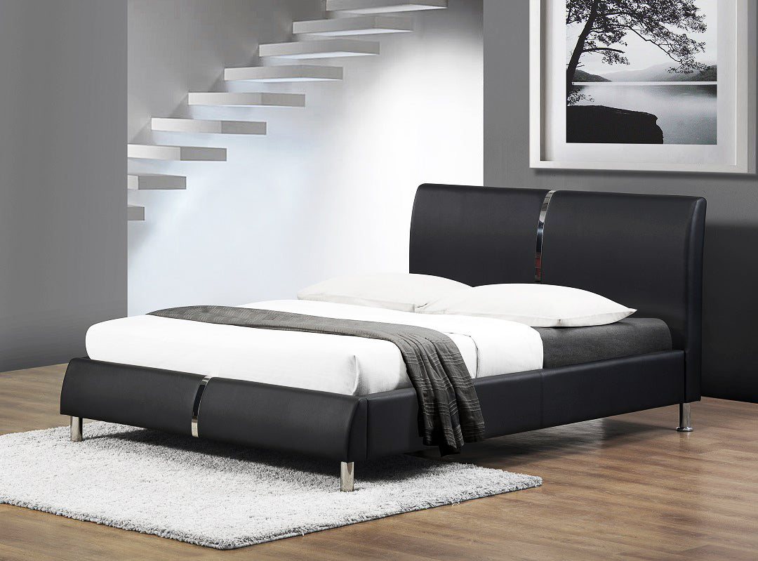 Black PU Leather Look Queen Bed Frame