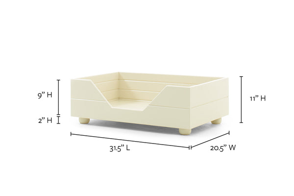 Small/medium antique white custom pet furniture by B&B Kustom Kennels with measurements