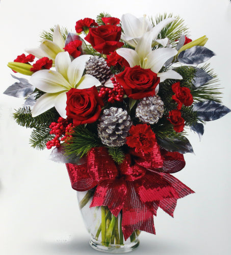 EA 1208 Beautiful heavy glass vase with loving reds, lilies/daisies and accents