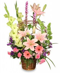 FA 3214 Impressive sympathy or celebration basket with lots of love