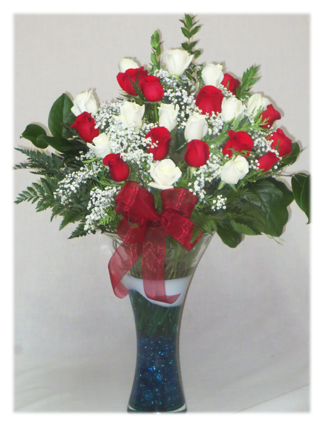 EA 1303 The Blast of Love! red and white 24 rose arrangement