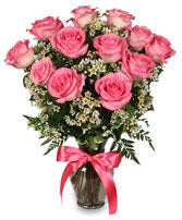 EA 1209 Pink blush 10 roses arranged in a vase