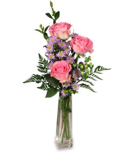 EA 1212 3 Beautiful roses in a slender vase with greens and pretty extras