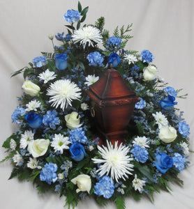 FU 4206 Urn Surround Memory Flower Spray with colour choice in fresh or silk flowers.