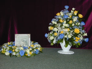 FU 4219 Urn photo lay down wreath paired with beautiful urn basket