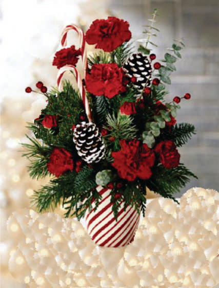 XA 1106 Fancy Christmas arrangement in a vase with candy cane and cones