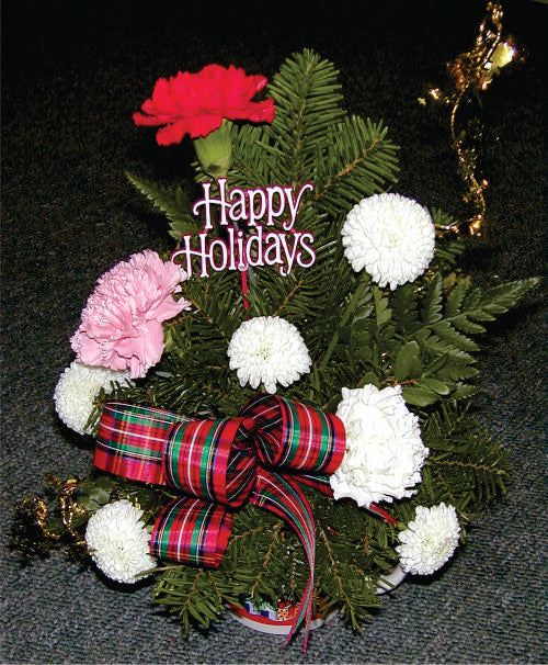 XA 1109 Christmas mug flower arrangement holiday greens