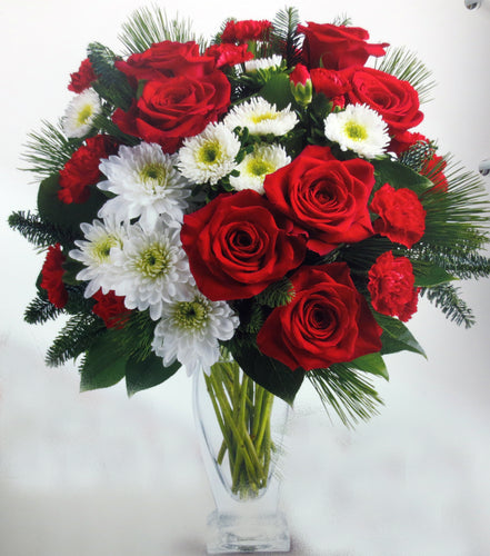 EA 1230 FLAIR arrangement red with gorgeous mums and daisies