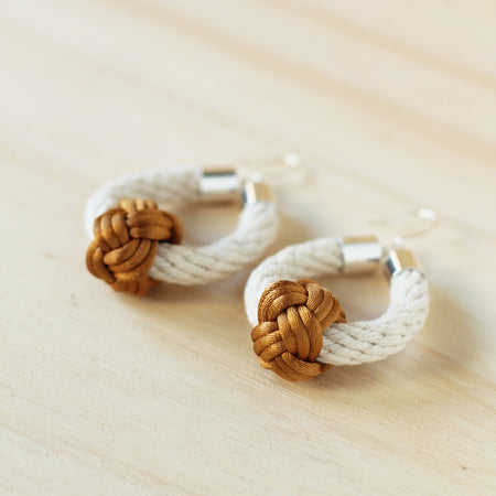 Nautical knot earrings in mustard