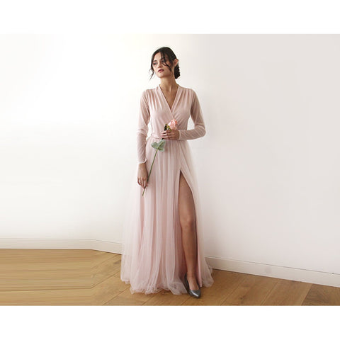 Pink wrap tulle gown with long chiffon sleeves and slit 1174