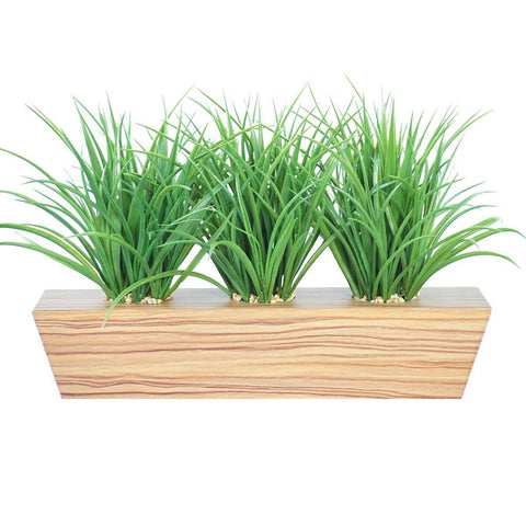 "Grass in trapezoid wooden pot 22x12x12""H"