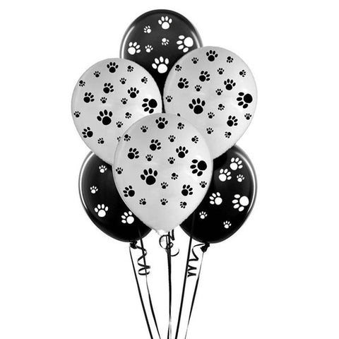 12-inch Black and White 10pcs/lot  Dog Paw Latex Print Balloons Toys Decoration Party Supplies Kids Toy