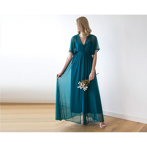 Teal green chiffon maxi dress with bat wings sleeves 1027