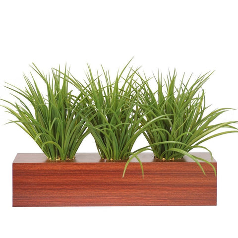 "Plastic grass in wooden pot 22x10x12""H"