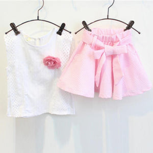 SUMMER Girls T Shirt Skirt Set