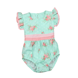 Floral Pink and Teal Girls Romper