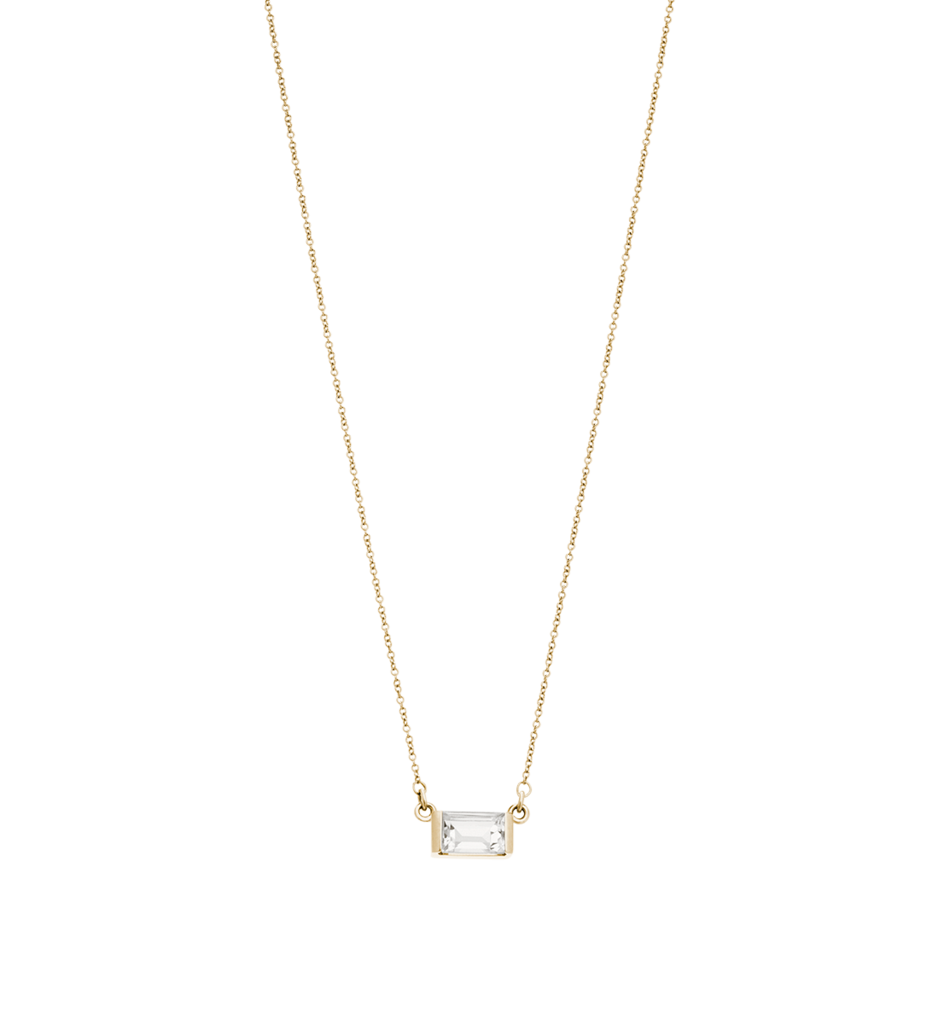 Baguette Necklace White Topaz ~ (14K GOLD)