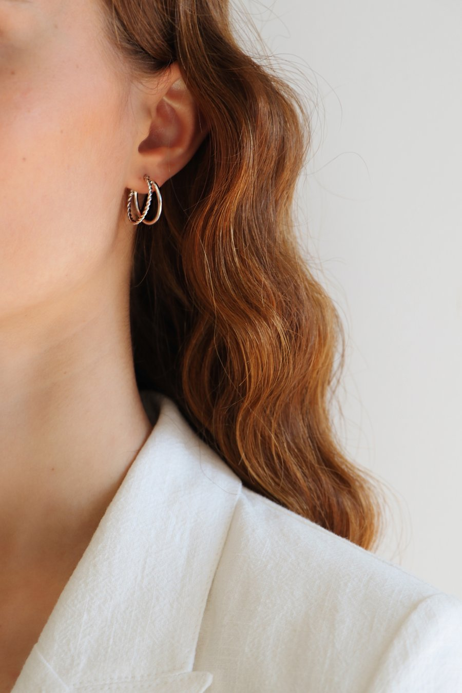 Evie Double Hoops Silver