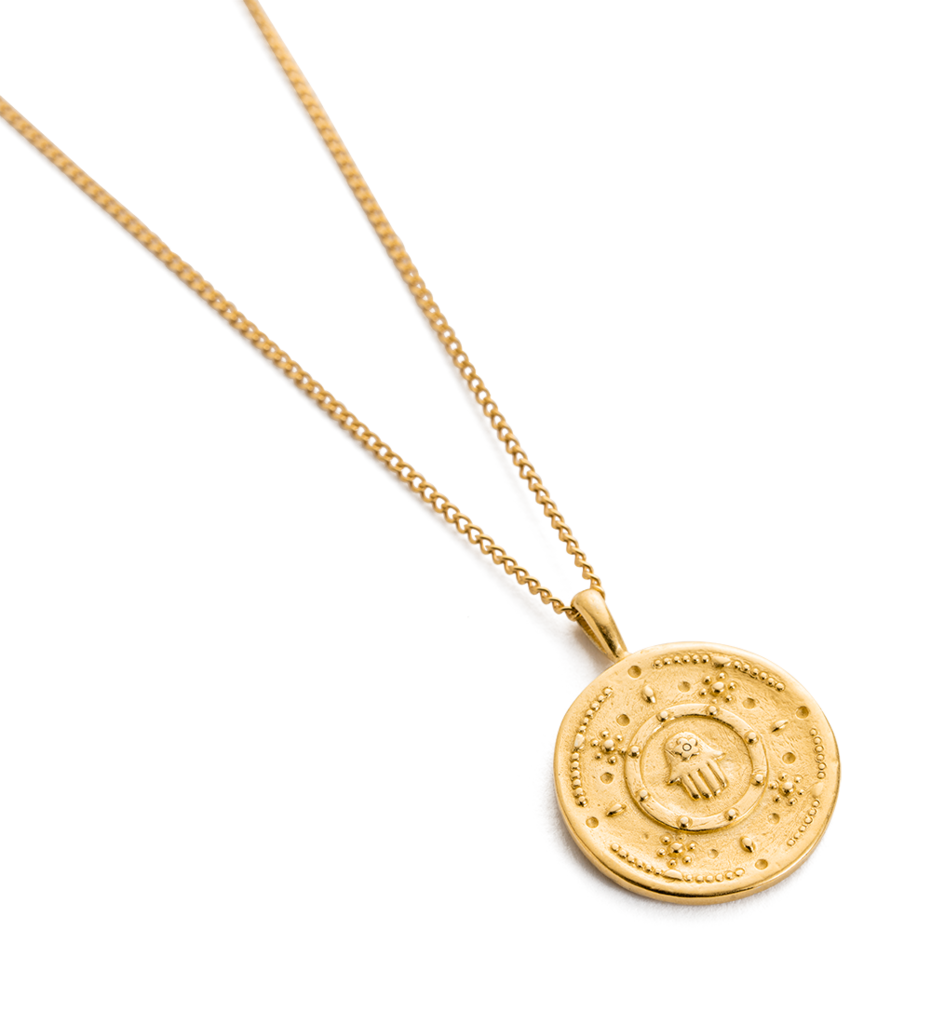Hamsa Protection Coin Necklace ~ (18K Gold Vermeil)