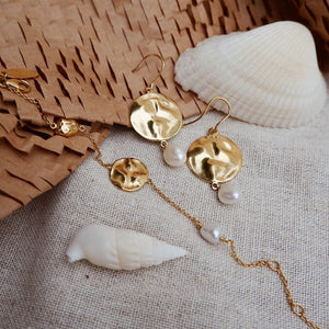 Tidal Pearl Earrings ~ (18K Gold Plated)