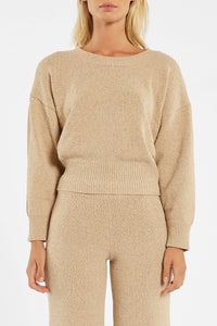 White Wash Knit Jumper - Natural