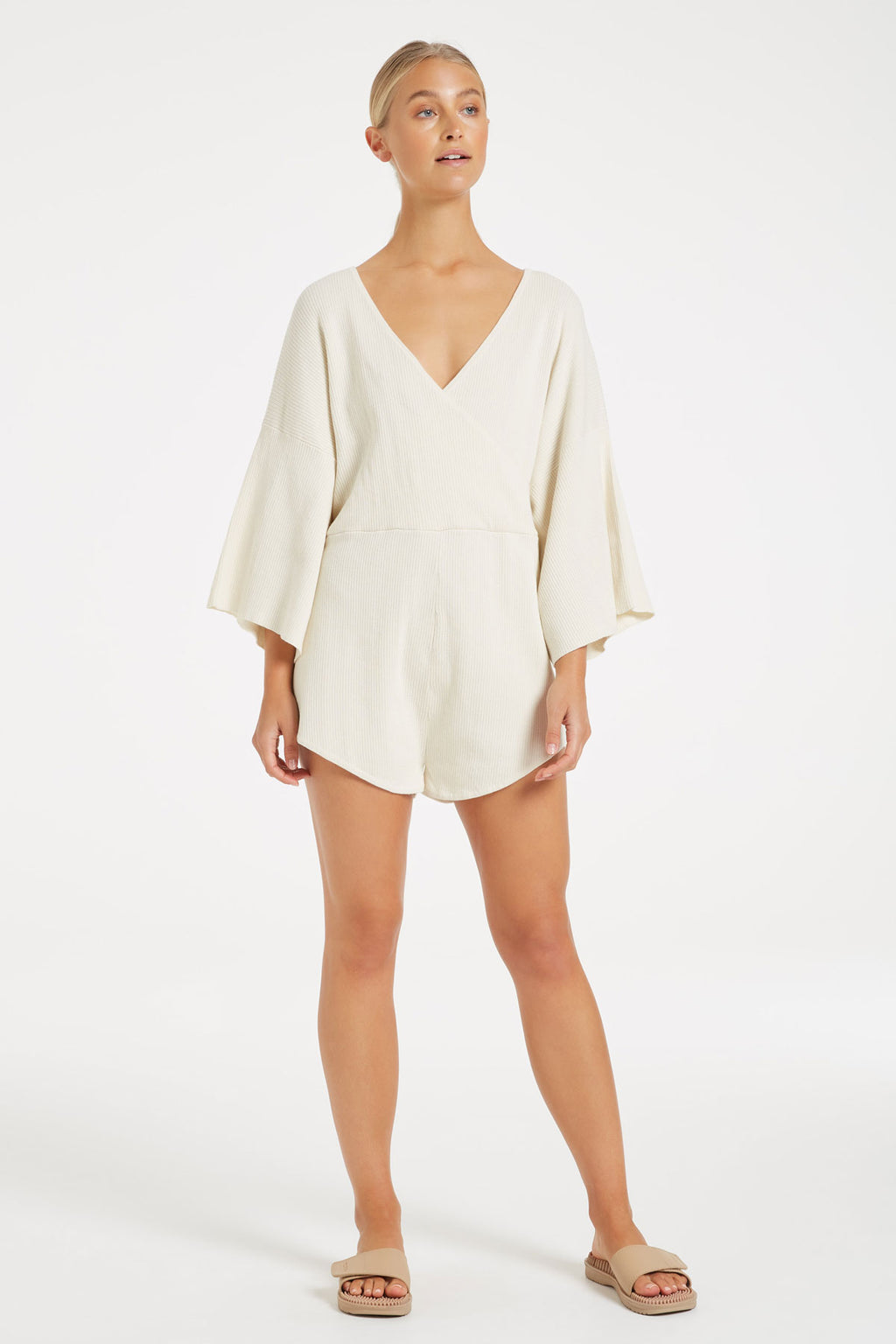 Breathe Knit Playsuit - Cream Ribbed