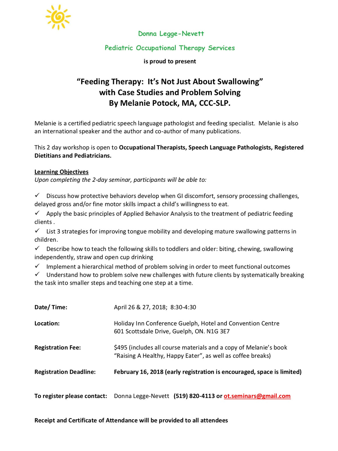 Feeding Therapy by Melanie Potock April 26-27 2018