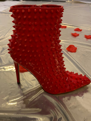 Red Spike Booties