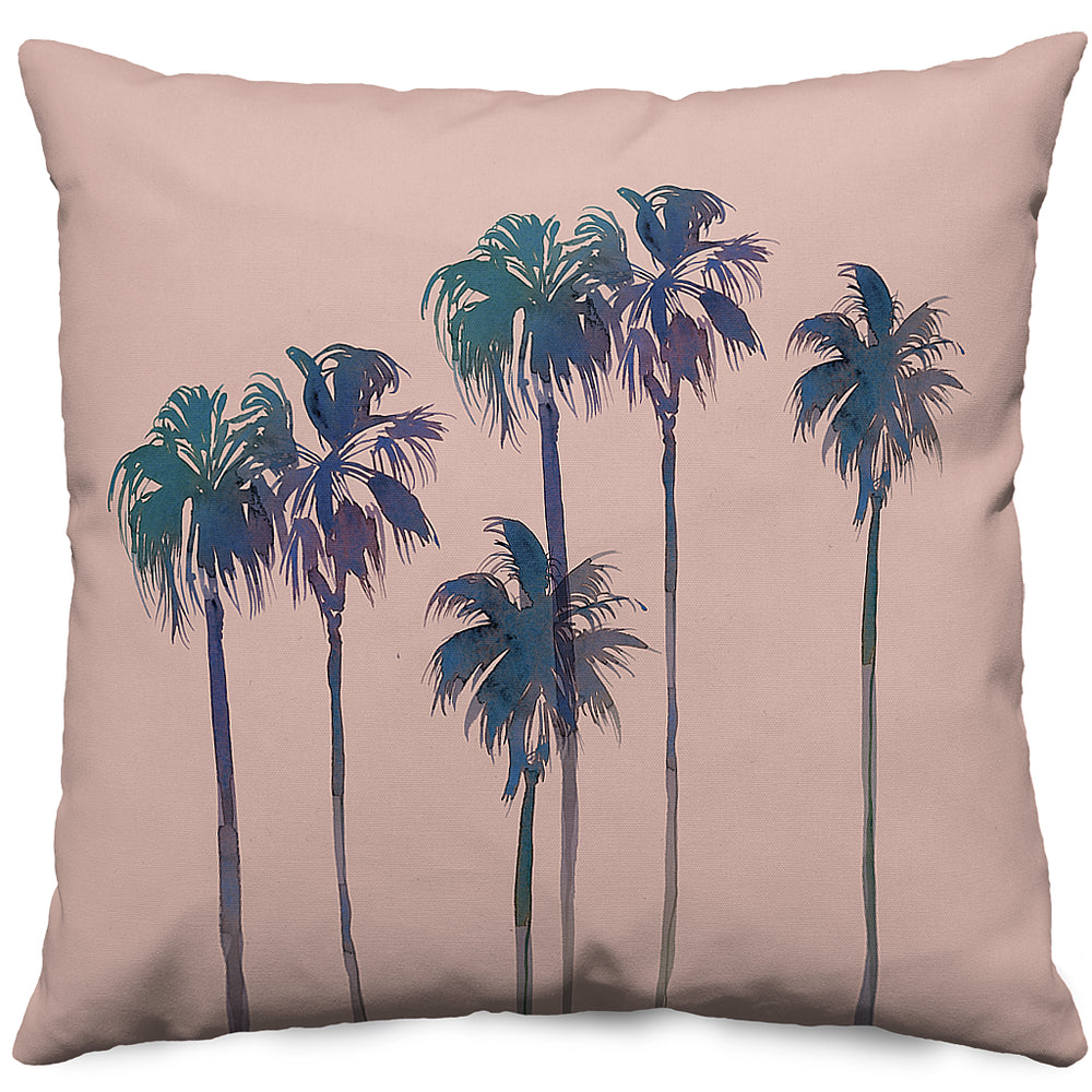 Blush Palm Trees Throw Pillow