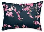 Navy Cherry Blossom Throw Pillow