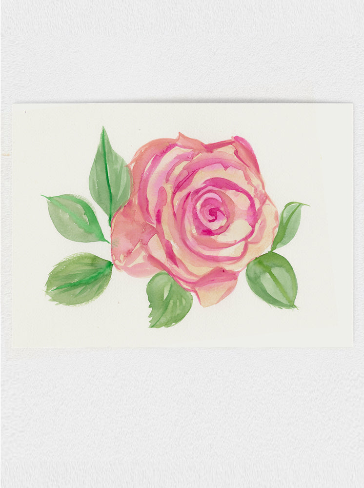"Garden Rose Original Watercolour Painting - 9""x12"""