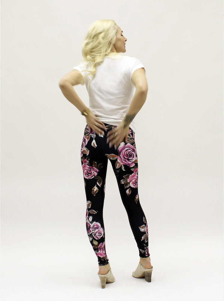 Pink Roses on Black Leggings